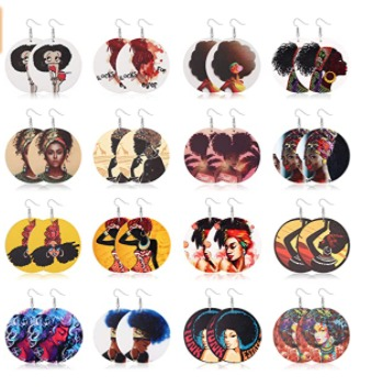 Round African Women Earrings